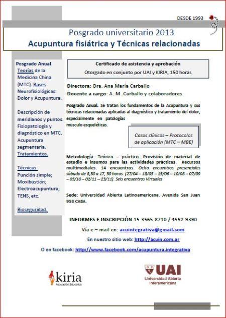 Acupuntura y TR Anual 2013